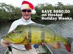 Save $850.00 when you book a 2014 and 2015 Hosted Holiday Week at Agua Boa Amazon Lodge. Mike McGinn with Agua Boa peacock bass.