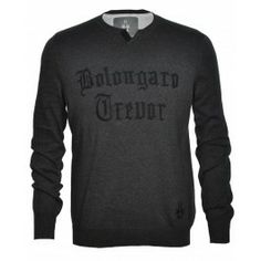 Bolongaro Trevor BT Crew in leightweight knit. Herringbone, Knitwear, Men Sweater, Lettering, Knitting, Cotton, Twists, Tape, Embroidery