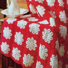 Vintage Crochet Pattern PDF for Christmas Snowflake Afghan Throw Blanket  Retro
