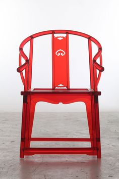Traditional Chinese chair fabricated from Red Acryl by 'Make+' studio (做+) / David Xing & Jack Xiang