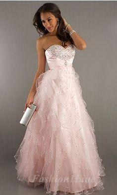 Beautiful Heart shaped diamond studded pastel pink colored prom dress