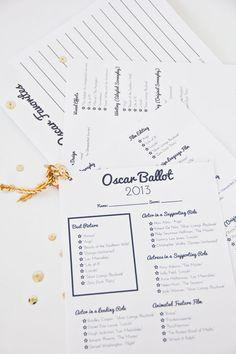 DIY Printable Oscar Ballot - for an awards party
