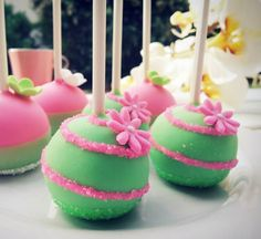 Pink & Green Swirly Cake Pops Photo