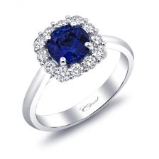 From our Signature Color Collection, this ring features a gorgeous 1.08CT sapphire gemstone surrounded by a cushion-shaped halo of round diamonds. see more at coastdiamond.com #coastdiamond