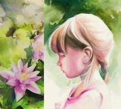 Karina Jaźwińska/ Watercolor/ In the garden.