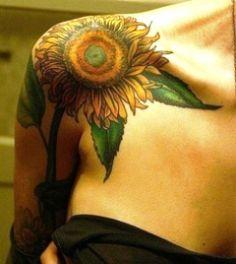 Arm tattoo for fashion girls. Awesome Tattoos and Tattoo Designs Sunflower Tattoo Shoulder, Sunflower Tattoo Small, Sunflower Tattoos, Sunflower Tattoo Design, Sunflower Leaves, White Sunflower, Wild Tattoo, Tattoo On, Piercing Tattoo