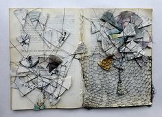 Die Geschichte kennt keinen Stillstand altered book by Ines Seidel I love to create something visually interesting out of something ordinary Textiles Sketchbook, Sketchbook Pages, Sketchbook Ideas, Altered Books, Altered Tins, Collages, Art Altéré, Art Texture, Textile Art