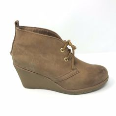 d34fa41e229 Sperry Top-Sider Womens Size 7 Harlow Tan Burnished Leather Wedge Ankle  Booties