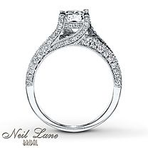 2 1/8 ct tw Diamond Engagement Ring Cushion-Cut 14K White Gold