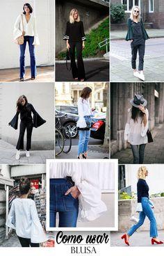 As blusas com manga boca de sino são super tendência. Se inspire com vários looks diferentes e aprenda a usar esse modelo.