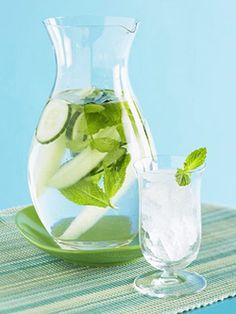 Recipe for Cucumber & Mint Water.  Not only does it look and taste good, mint and cucumber help to boost metabolism and are both high in many nutrients important to the health of our bodies.