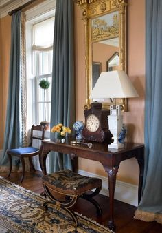 Details on drapes from: A Picturesque New York Farmhouse by Gil Schafer - The Glam Pad Dream Home Design, House Design, Interior Architecture, Interior And Exterior, Interior Walls, Interior Decorating, Interior Design, Decorating Ideas, Interior Ideas