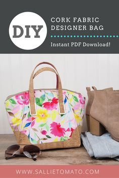 Easy DIY Designer Handbag - Daphne Handbag is a quick sew, and fun to make! Features an exterior accent, faux piping, zipper closure, an adjustable crossbody strap, two interior pockets, & rivets. PDF Sewing Pattern for metal strap connectors and metal zipper tab if you choose not to make your own. Wake with quilt weight cotton, vinyl, cork fabric, or other bag materials. Show off your Purse Hardware. Professional straps. From Sallie Tomato.