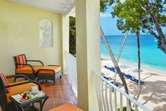 Enjoy the beach views from your private terrace at Tamarind Beach Hotel and Yacht Club, St. Vincent and the Grenadines, #Caribbean