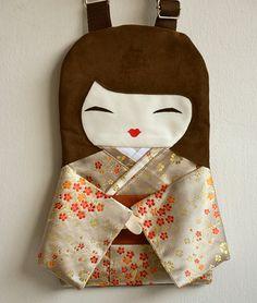 Handmade a Unique Japanese Doll Handbag Cream by NinuMiluBagDolls,