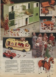 """Wolverine Doll Kitchen, Barbie Star Traveler Motorhome, Dune Buggy, Living Room and Dining Room Furniture Sets, Fashions and Sears Exclusive Horse """"Beauty"""" from the Sears Christmas Wish Book Catalog, 1970's"""