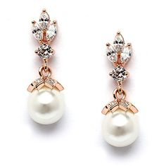 Mariell Light Ivory Pearl Drop Vintage Wedding Bridal Earrings with 14K Rose Gold Plated Cubic Zirconia -- Check out the image by visiting the link.