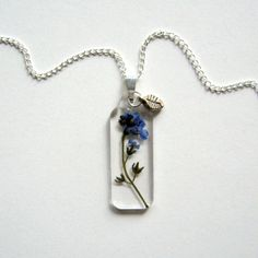 $19.00 Forget Me Not Real Flower Garden Necklace by enchantedplanet