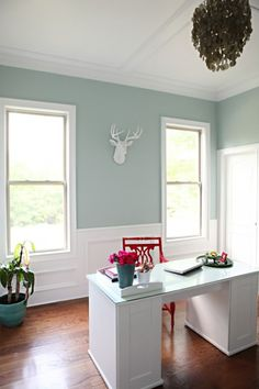 10 Gorgeous Home Office Makeovers Office makeover from Bower Power. Benjamin Moore Palladium Blue.