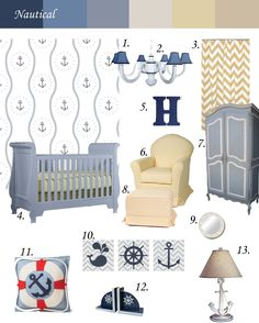 Nautical Nursery Theme #temporarywallpaper #swagpaper #inspirationboard