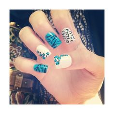 Blue White And Teal Animal Print Nails Includes Zebra Tiger Leopard Cheetah