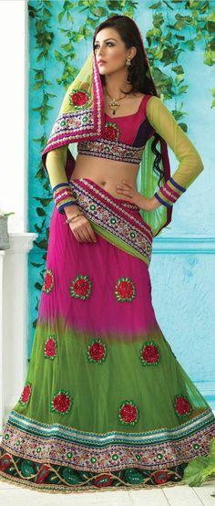 Dark #Pink and Light #Green Net A-Line #Lehenga Choli With Dupatta @ $127.65