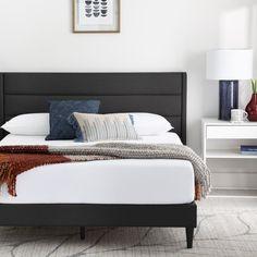 Mercury Row® Scarlett Upholstered Low Profile Platform Bed & Reviews | Wayfair Black Headboard, Modern Headboard, Black Bedding, Upholstered Platform Bed, Upholstered Beds, Queen Murphy Bed, Scarlett, Bed Base, Adjustable Beds