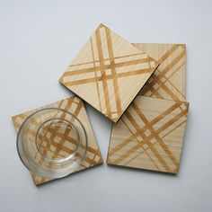 Plaid Bamboo Coasters now featured on Fab.