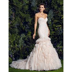 Lan Ting Fit & Flare Wedding Dress - Pearl Pink Court Train Sweetheart Tulle – USD $ 449.99