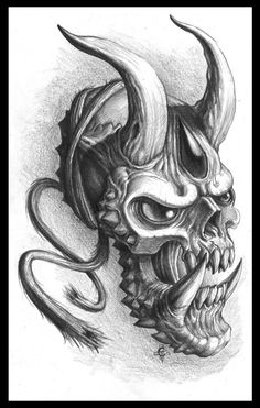 Chaos Hannya by Chaostouched on DeviantArt Skull Rose Tattoos, Evil Tattoos, Black Ink Tattoos, Body Art Tattoos, Demon Drawings, Cool Art Drawings, Tattoo Drawings, Hannya Tattoo, Demon Tattoo