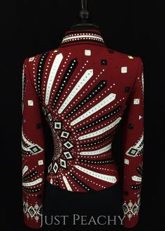 Red, Black and White Western Horse Show Jacket by Dry Creek Designs ~ Just Peachy