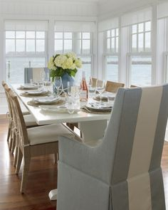 Project Reveal: A Picture-Perfect Beach House Beach Dining Room, Cottage Dining Rooms, Dining Room Design, Dining Room Table, Kitchen Design, Trestle Dining Tables, Beach House Decor, Home Decor, Cottage Interiors