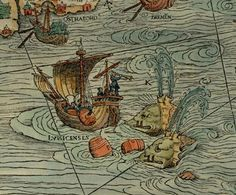 """Ship and 2 Whales  A Sea Monster from the Carta Marina -  """"A Marine map and Description of the Northern Lands and of their Marvels, most carefully drawn up at Venice in the year 1539 through the generous assistance of the Most Honourable Lord Hieronymo Quirino""""."""