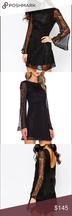 Stone Cold Fox Duboce Dress Beautiful lace mini dress by Stone Cold Fox. Bell sleeves with low scoop back. Size medium but labeled a size 2. Worn a few times and in excellent condition. Stone Cold Fox Dresses Mini