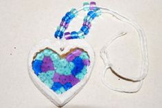 Fabulous Suncatcher Heart Necklace   AllFreeKidsCrafts.com