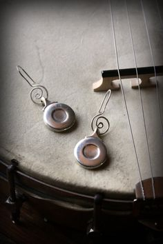 recycled flute key silver circle earrings with swirl!  Yay! recycled musical instrument jewelry!