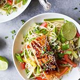 So if you are afraid of the grill this recipe is for you! EASY TERIYAKI SALMON seared in a pan and then served on a bed of Noodles. ASIAN NOODLE SALAD to be exact... made with brown rice noodles (ahem which means it's gluten free), fresh veggies for some crunch and a homemade Asian Sesame Dressing that you'll want to slurp (no judges)! Such a light, simple refreshing recipe for the summer! Get it! . . Click linkinprofile for Recipe☝️️ . . #buzzfeast #beautifulcuisines #CookCL #eatingforth...