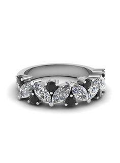 Black Diamond Wedding Band In 14K White Gold