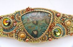 Bead Embroidered Bracelet Bead Embroidery by RedTulipDesign