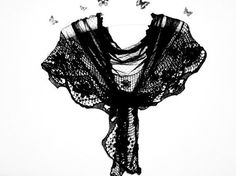 Hey, I found this really awesome Etsy listing at https://www.etsy.com/listing/122328632/black-triangle-scarf-with-lace-tulle