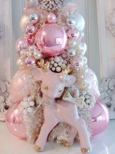 Vintage Christmas PINK Bottle Brush Tree, Pink Deer Figurine , Rhinestone brooch