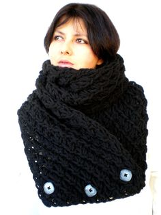 Lace Star Black Scarf Alpaca  Wool Big  Neckwarmer by GiuliaKnit, $75.00