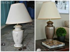 before and after DIY Lamp Makeover