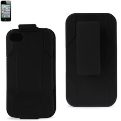 Reiko Silicon Case+Protector Cover Iphone4G Holster With Clip Black