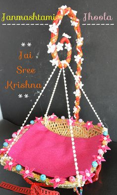 How to make Janmashtami Jhula at home,Step by step tutorial on how to make Janmashtami Jhula at home,Laddu Gopal Jhoola for Janmashtami, thakurji jhula Mandir Decoration, Thali Decoration Ideas, Diwali Decorations, Festival Decorations, Kalash Decoration, Diy Decoration, Balloon Decorations, Diy Home Crafts, Diy Crafts For Kids