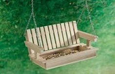 Porch swing bird feeder. You can make this out of popsicle sticks.