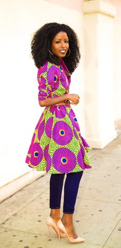 African Print Wrap Jacket + Capri Jeans by Style Pantry ~African Prints, African women dresses, African fashion styles, african clothing African Attire, African Wear, African Women, African Dress, African Style, African Shop, Ankara Dress, African Inspired Fashion, African Print Fashion