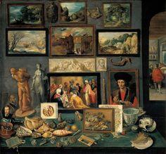 """""""Cámara de arte e curiosidades"""" (1636), por Frans Francken (II)"""