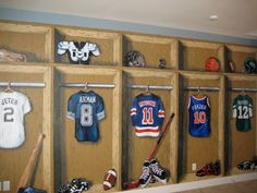 Faux lockers and sports equipment. | Murals I've painted ...