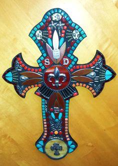 Custom cross created by Tina @ Wise Crackin' Mosaics Tile Crafts, Mosaic Crafts, Mosaic Projects, Mosaic Art, Mosaic Glass, Mosaic Tiles, Art Projects, Old Rugged Cross, Sign Of The Cross